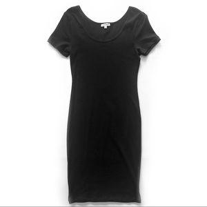 Zenana Premium Dresses - Zenana Black Fitted Midi Short Sleeve Dress Small